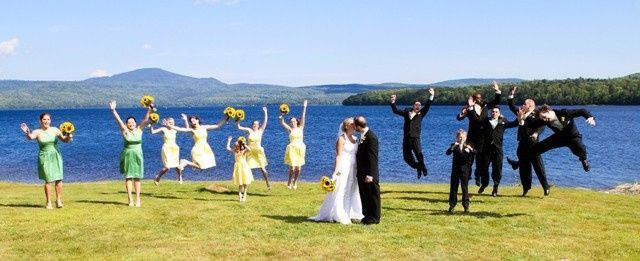 jumping for joy bear tree wedding