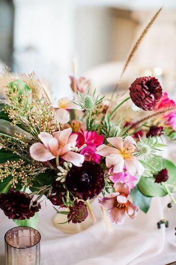 A vivid floral centerpiece