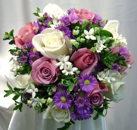 White and purple arrangement
