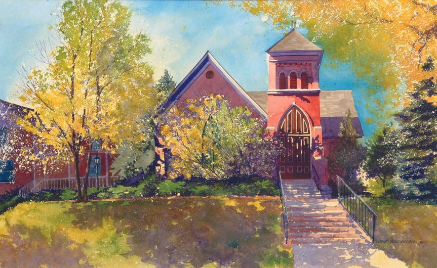 A watercolor painting of the 1872 church converted to our current art gallery