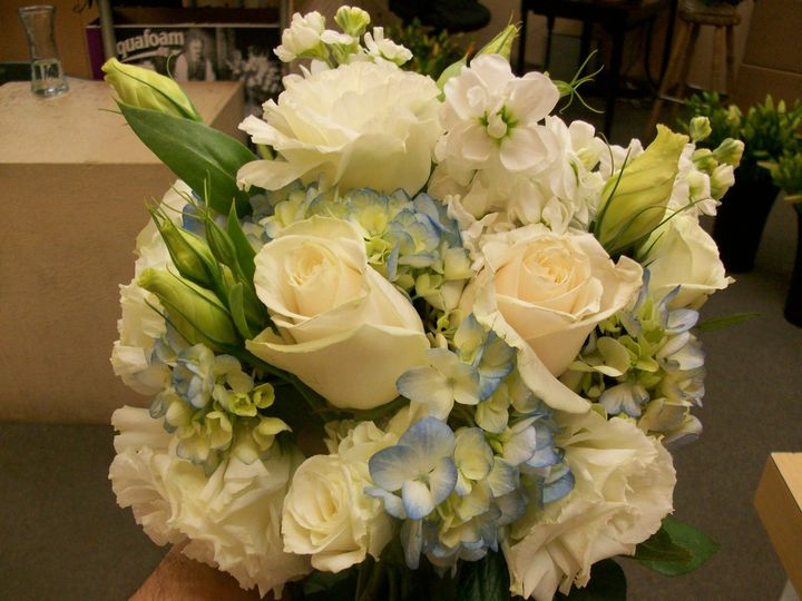 Blue and white hand tied bouquet