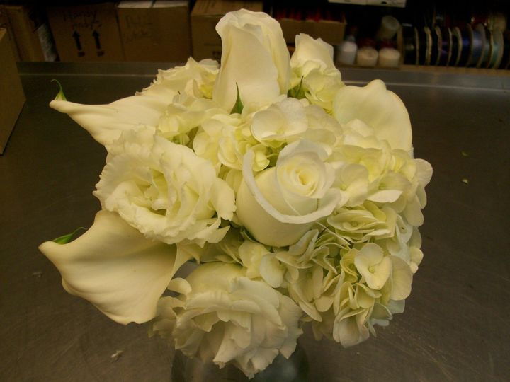 White roses, & calla lilies
