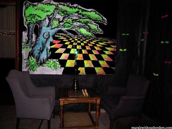 The oversize chessboard, for an Alice in Wonderland theme.