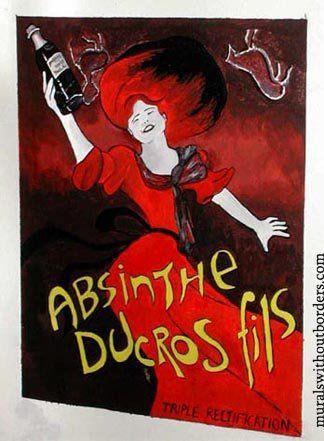 Vintage retro absinthe poster setting the scene.