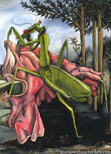 """This three-part triptych is a parody of Botticelli's famous """"Venus"""" picture, but with an insect..."""