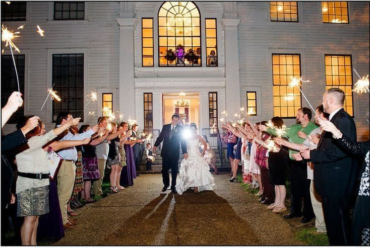 Wedding recession with sparkler