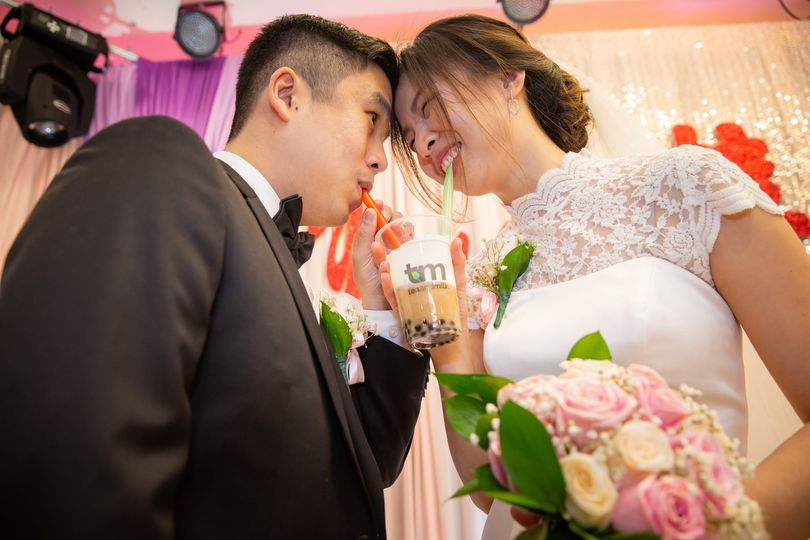 Newlyweds share a boba