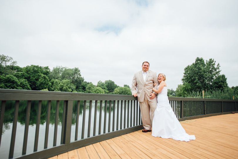 The newlyweds by the walkway