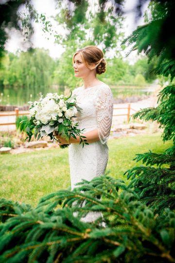 Bride in sleeved wedding dress