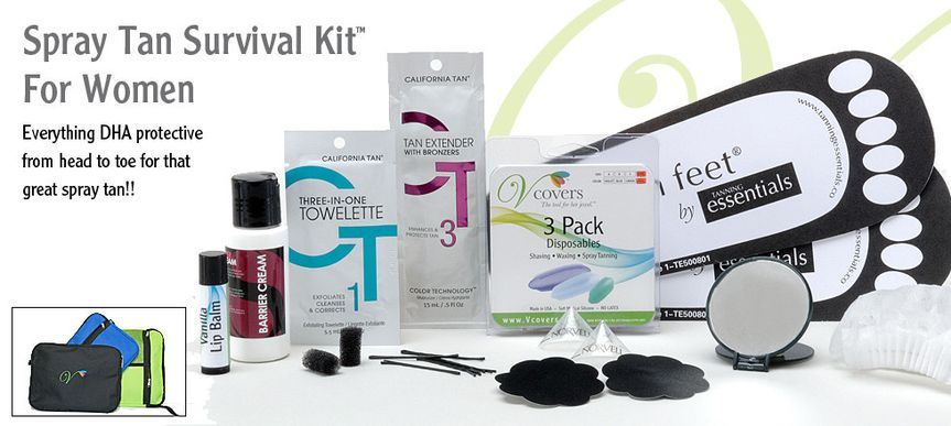 Women's Spray Tan Survival Kit contains 13 intimate disposables and other necessities for the best...