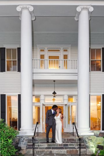 Newlyweds by the steps