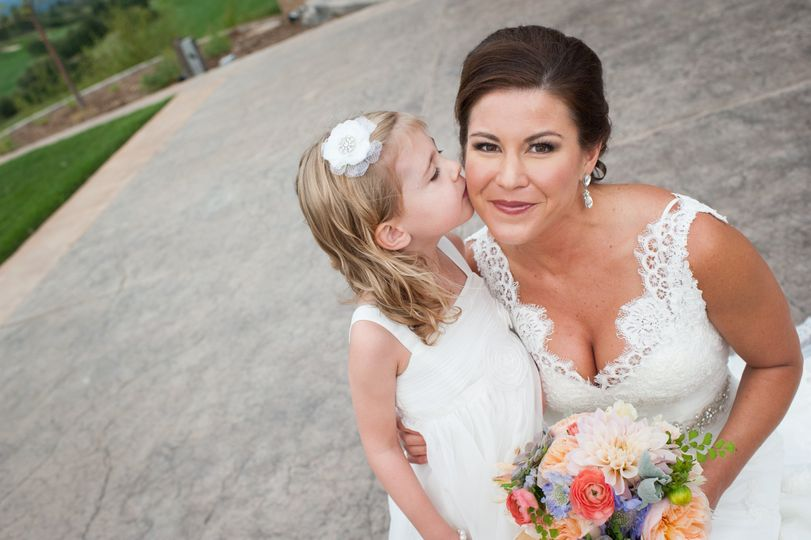 Sweet bride and flower girl