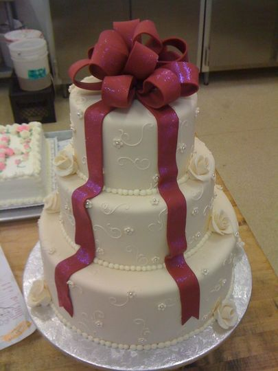 Wedding cake with ribbon icing