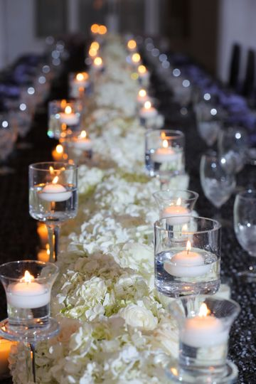 Flower centerpiece with candlelit