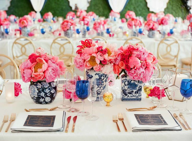 Floral decor and table setting