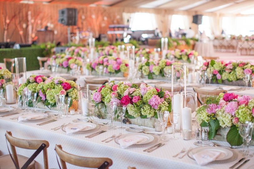 Floral decor on tables