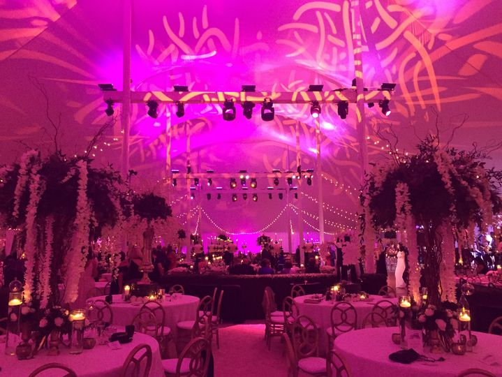 Pink lighting for the reception