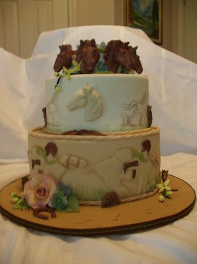 Horse Themed cake with fondant impressions, molded fondant decorations and gumpaste flowers
