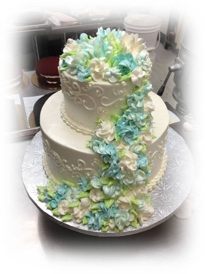 blue and white cascade
