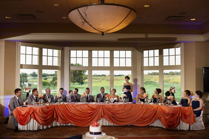 Head table for bridal attendants