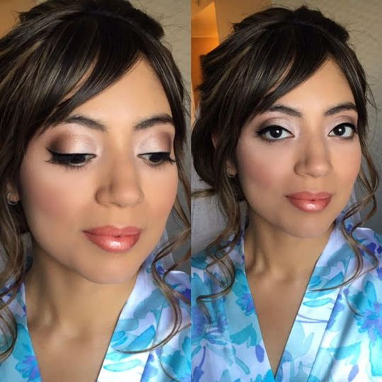 Shimmery eyeshadow with peachy lip