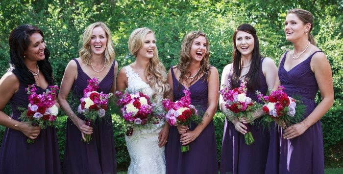Purple colored bouquets