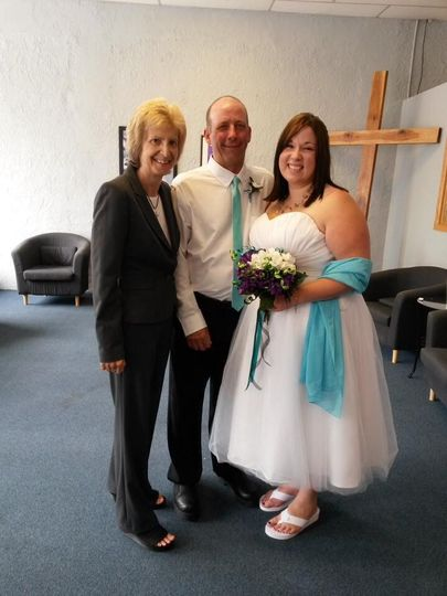 Pastor Deb Helton at a church wedding