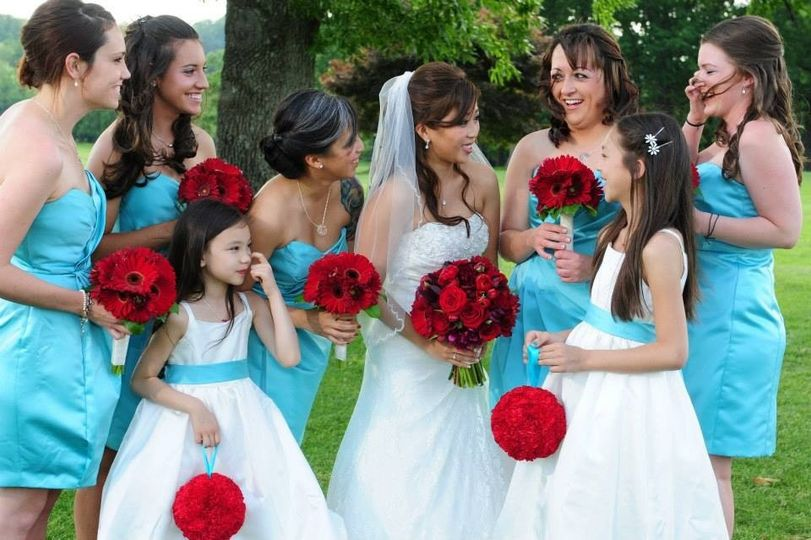 Bride, bridesmaids, and flower girls