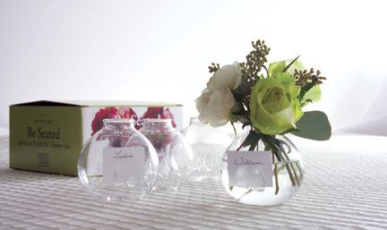 these mini vases act as a favor, place card holder & NO centerpiece is needed