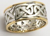 The ultimate lady's heavy, wide, 14ct yellow and white gold open Celtic knot wedding ring.