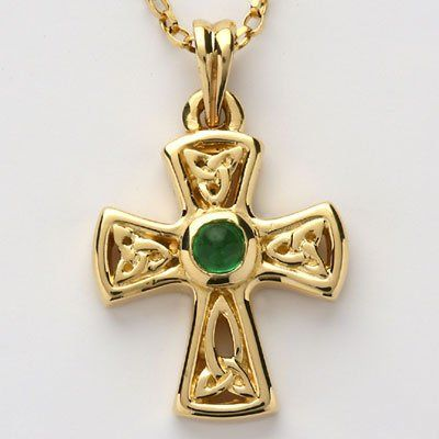 Trinity Knot Celtic Cross Pendant set with Emerald.