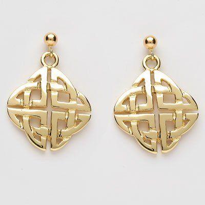 Square Celtic Knot Drop Earrings