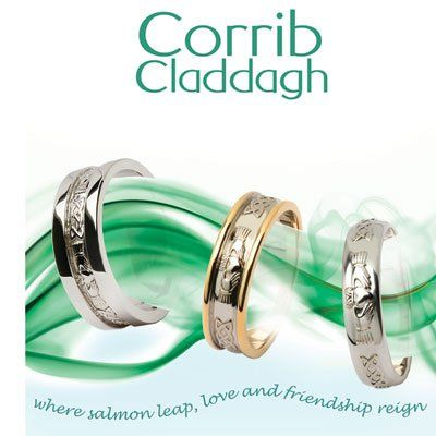Claddagh and Celtic Knot Wedding Rings in 14K Two Tone Yellow and White Gold!