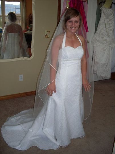 Joyanne's custom gown with pleated organza bodice, lace overlay on skirt, and custom veil