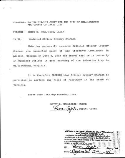 State of VA Certificate
