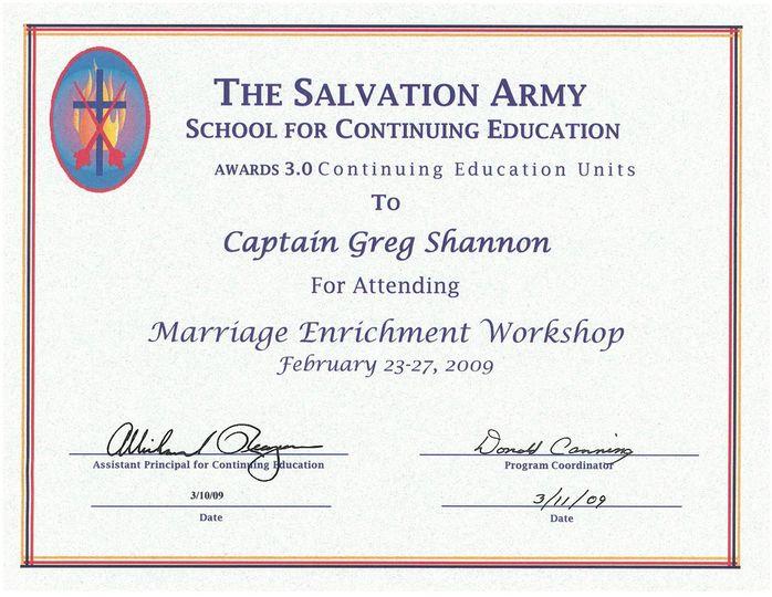 Marriage Enrichment Certificat