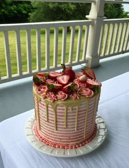 Striped Strawberry Cake