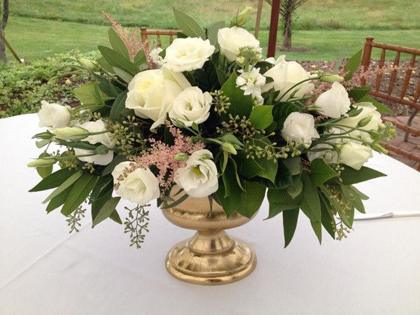 long branch centerpiece in gold urn