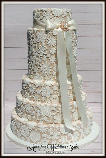 Lace-Ribbon - Wedding Cake Rental