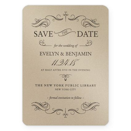 Gold save the date invites
