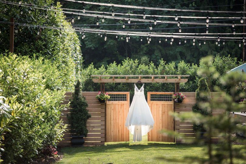 Wedding dress in the sunlight