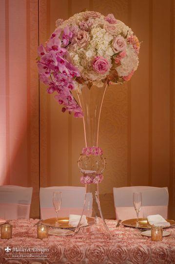 Tall soft, blush reception centerpiece
