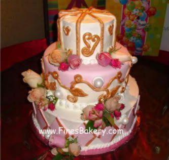 Tmx 1306087664537 3tierGoldCakeHR West Hills wedding cake