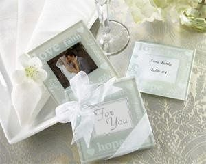 """Good Wishes"" Pearlized Photo Coasters