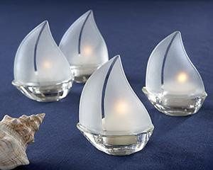 """Set Sail"" Frosted Glass Sailboat Tealight Holders, Set of 4