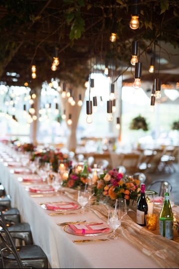 Long table flower centerpiece