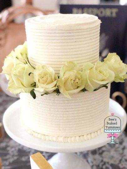 Simple but Elegant Bridal Shower Cake with a fresh flower crown