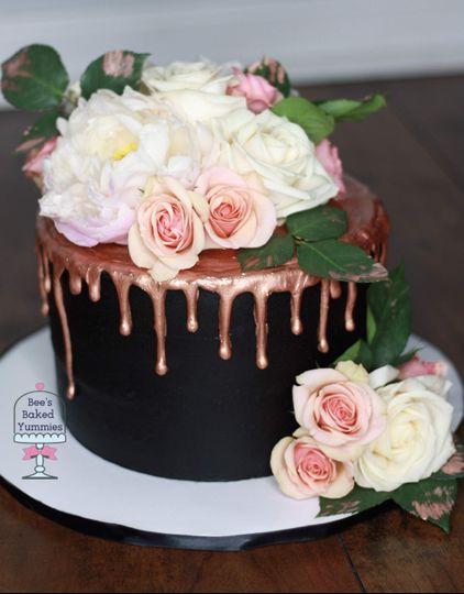 Rose Gold + Floral Cake