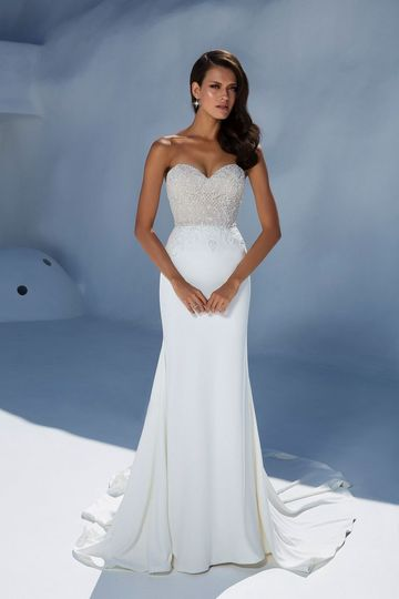 Beaded strapless wedding gown