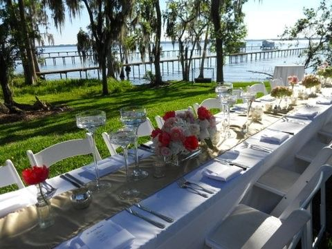 Riverfront wedding reception